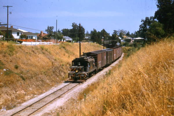 Westbound on the Santa Monica Air Line below Northvale (Exposition) at Clarkson (1953)